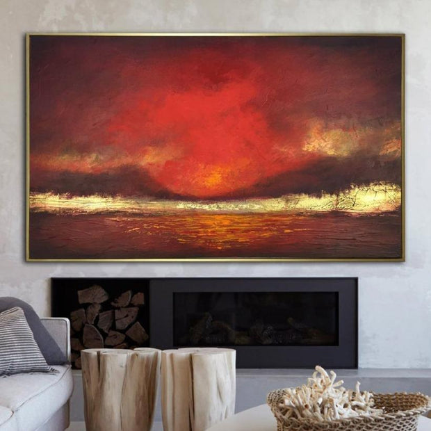 Abstract Oil Painting Oversized Abstract Paintings On Canvas Red Painting Gold Leaf Painting Original Modern Art | FIRE SKY - Trend Gallery Art | Original Abstract Paintings