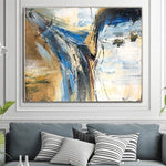 Palette Knife Artwork Gold Leaf Wall Art Oversized Blue Painting Decor Abstract Gold Leaf Art | UNCOVERED IDEA