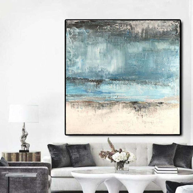 Large Abstract Blue Painting Original Abstract Painting Contemporary Wall Painting Acrylic Abstract Art On Canvas | BEFORE THE RAIN - Trend Gallery Art | Original Abstract Paintings