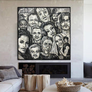 Original Faces Of Actors Abstract Painting Lifestyle Abstract Acrylic Paintings On Canvas | FAMED PEOPLE - Trend Gallery Art | Original Abstract Paintings