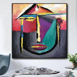 Original Abstract Face Paintings On Canvas Original Oil Abstract Artwork Contemporary Wall Painting Modern | THE BEAUTY OF YOUTH