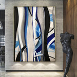 Original Abstract Painting Oversized Abstract Painting Blue Painting Abstract Acrylic Paintings On Canvas | SEA'S SONGS