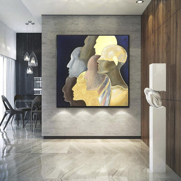 Large Gold Leaf Painting Humans Abstract Painting Abstract Faces With Gold Stroke Modern Painting Humans | UNITY - Trend Gallery Art | Original Abstract Paintings