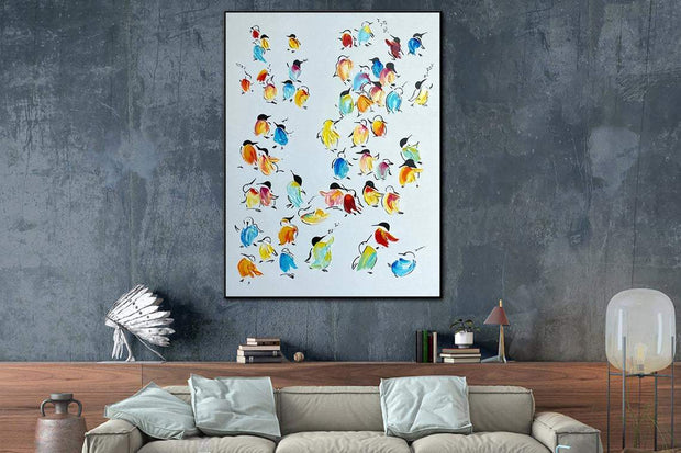 Bird Painting Bird Wall Art Animal Painting Abstract Painting Nursery Contemporary Wall Decor | DAY FLOCK - Trend Gallery Art | Original Abstract Paintings