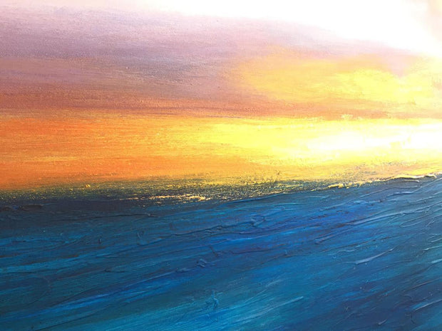 Large Abstract Paintings On Canvas Ocean Painting Calming Painting Blue Painting Sunset Acrylic Painting On Canvas | SUMMER SUNSET - Trend Gallery Art | Original Abstract Paintings