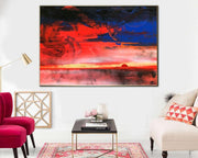 Original Abstract Desert Painting On Canvas Modern Sunset Painting Contemporary Abstract Painting | FIERY SUNSET - Trend Gallery Art | Original Abstract Paintings