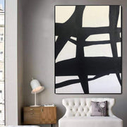 Extra Large Black And White Paintings On Canvas Abstract Painting Black Paintings White Paintings | TOWER TOP - Trend Gallery Art | Original Abstract Paintings