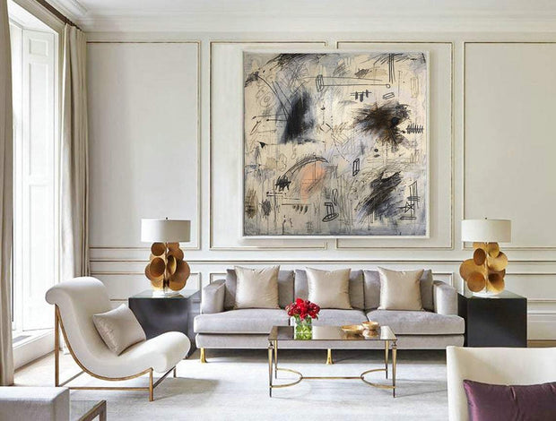 Oversized Beige Paintings Black Painting Abstract Artwork Abstract Creative Paintings On Canvas Original Wall Painting Contemporary Wall Art | SOUL MECHANISM - Trend Gallery Art | Original Abstract Paintings