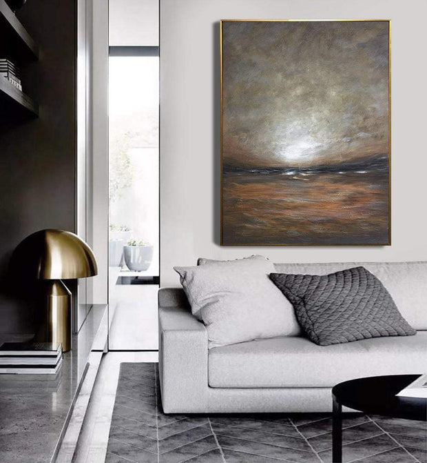 Large Abstract Painting On Canvas Landscape Painting Earth Tones Painting Modern Painting Wall Art Painting | BEFORE SUNSET - Trend Gallery Art | Original Abstract Paintings