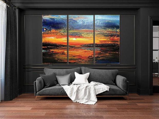 Sunset Paintings Abstract Ocean Paintings On Canvas Modern Wall Art For Living Room Sets Of Paintings Contemporary Art Original Large Art | HEAVENLY FIRE - Trend Gallery Art | Original Abstract Paintings