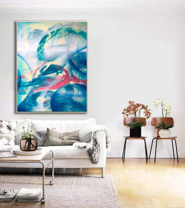 Original Blue Paintings On Canvas Extra Large Paintings Blue Tones Painting Modern Painting | BUBBLY THOUGHTS - Trend Gallery Art | Original Abstract Paintings