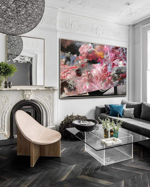 Large Canvas Painting Oversize Oil Painting Abstract Pink Colorful Painting Large Unique Wall Art | INSIDE THE LOTUS - Trend Gallery Art | Original Abstract Paintings