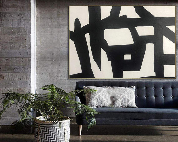 Abstract Black And White Paintings On Canvas Black Lines Art Extra Large Modern Canvas Art Oil Painting Original | FAULTY SENSOR - Trend Gallery Art | Original Abstract Paintings