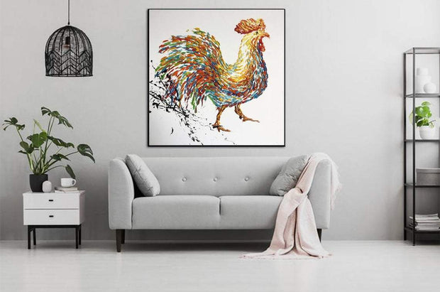 Extra Large Wall Art Rooster Painting Colorful Wall Art Oil Painting On Canvas Living Room Art Abstract Animal Painting | ROOSTER - Trend Gallery Art | Original Abstract Paintings
