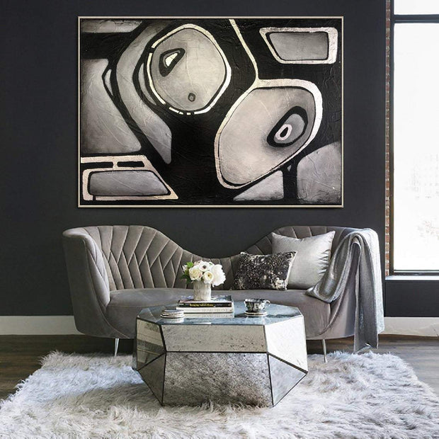 Original Black And White Paintings On Canvas Abstract Grey Paintings Modern Wall Art Landscape Paintings | AN EXTRATERRESTRIAL LOOK - Trend Gallery Art | Original Abstract Paintings