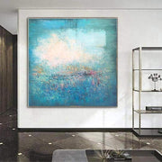 Peacock Blue Paintings On Canvas Oversized Paintings Abstract Turquoise Painting White Painting | TURQUOISE ILLUSION - Trend Gallery Art | Original Abstract Paintings