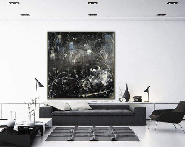 Oversized Oil Painting Abstract Painting Black Painting Modern Painting Acrylic Living Room Wall Art Canvas Black Painting | FOLLOW THE WHITE RABBIT - Trend Gallery Art | Original Abstract Paintings