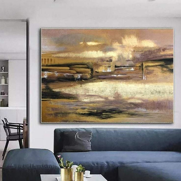 Oversized Wall Art Modern Gold Painting Abstract Canvas Wall Art Gold Acrylic Painting On Canvas | THE OLD TOWN - Trend Gallery Art | Original Abstract Paintings