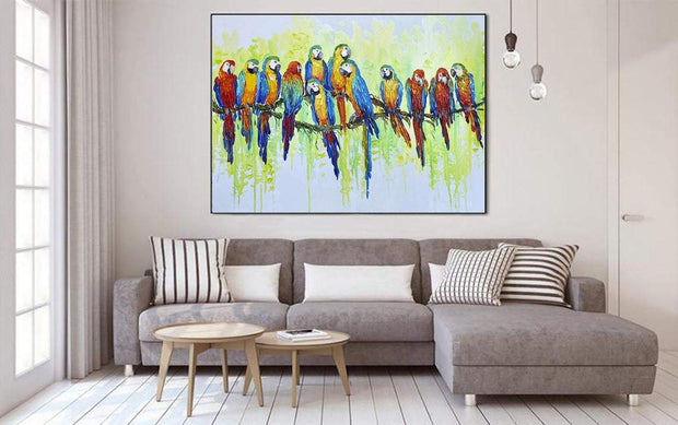 Large Painting Original Artwork Bird Painting Parrots Painting Oil Paintings On Canvas | MACAWS - Trend Gallery Art | Original Abstract Paintings