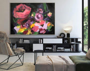 Oversize Canvas Painting Flower Painting Acrylic Abstract Canvas Painting | BOUQUET FROM THE PAST - Trend Gallery Art | Original Abstract Paintings