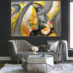 Extra Large Contemporary Art Abstract Human Portrait Painting Yellow Wall Art Acrylic Original Artwork | MOON DIVA