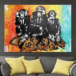 Original Street Art Abstract Monkey Paintings On Canvas Graffiti Artwork | GANG TRIO