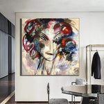 Large Abstract Colorful Woman Paintings On Canvas Acrylic Wall Art Modern Wall Decor | GIRL FROM THE PAST