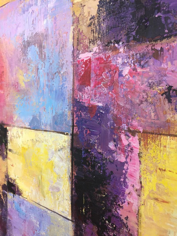 Gold Painting Pink Painting Contemporary Art Painting Canvas | GOLDEN STAINED GLASS - Trend Gallery Art | Original Abstract Paintings