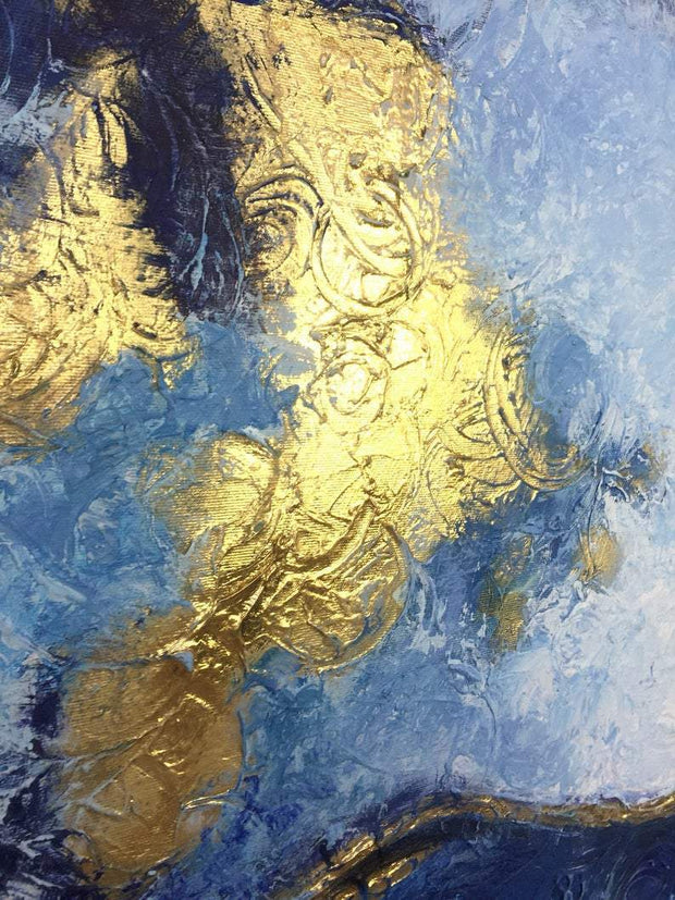 Original Large Painting On Canvas Modern Wall Painting For Living Room Gold Leaf Painting | WATER ELEMENTS - Trend Gallery Art | Original Abstract Paintings
