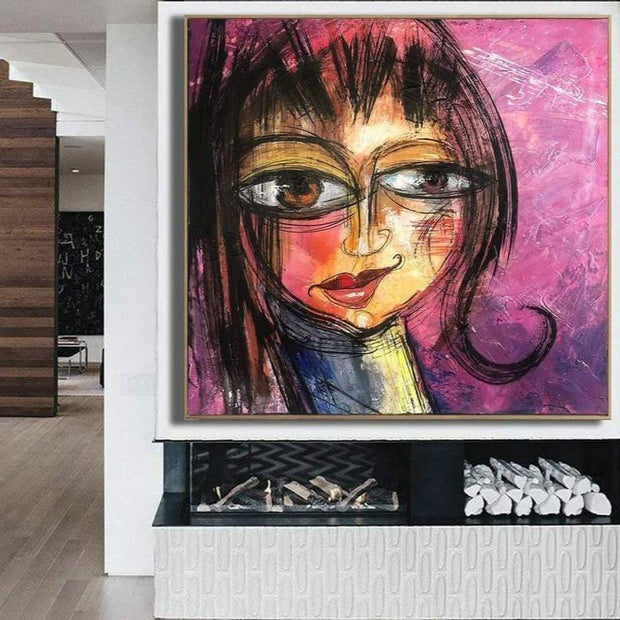 Abstract Face Painting Large Original Oil Painting Modern Painting Purple Painting Abstract Fine Art Wall Painting for Living Room | PLAYFUL SMILE - Trend Gallery Art | Original Abstract Paintings