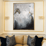 Abstract  Art Large Gray Painting White Abstract Painting Gold Painting Painting On Canvas | SOMEWHERE IN THE HEAVEN