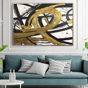 Large Abstract Canvas Gold Painting Black Painting White Abstract Painting | LOOP OF INFINITY - Trend Gallery Art | Original Abstract Paintings