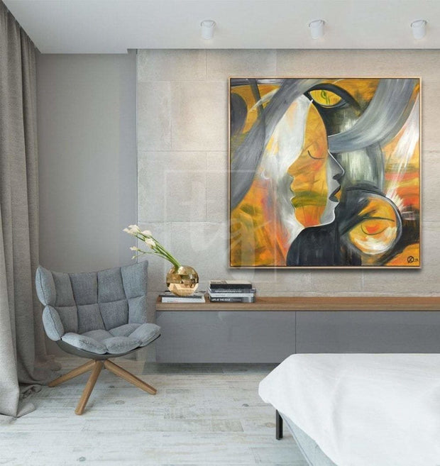 Large Abstract Faces Acrylic Paintings On Canvas Figurative Abstract Painting Large Modern Art | MOON DIVA - Trend Gallery Art | Original Abstract Paintings