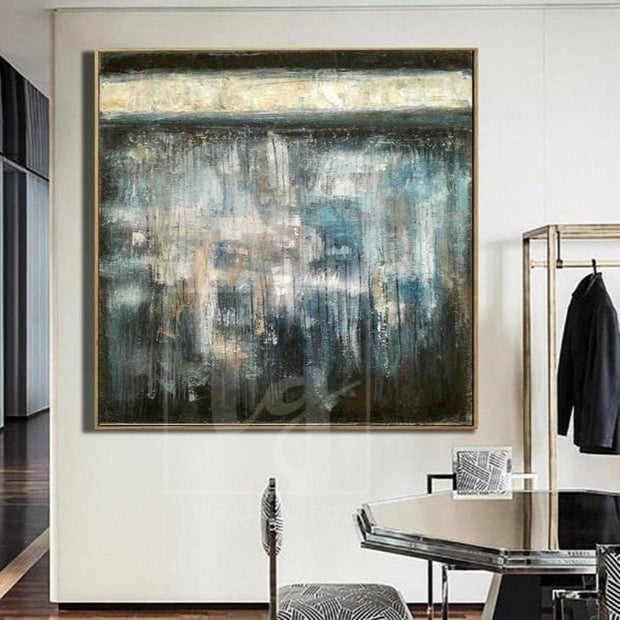 Large Abstract Oil Painting Gray Painting Blue Painting Modern Painting Original Painting | REFLECTION - Trend Gallery Art | Original Abstract Paintings