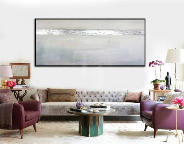 Large Abstract Oil Painting Gray Painting Silver Leaf Painting On Canvas | SILVER FLASH - Trend Gallery Art | Original Abstract Paintings