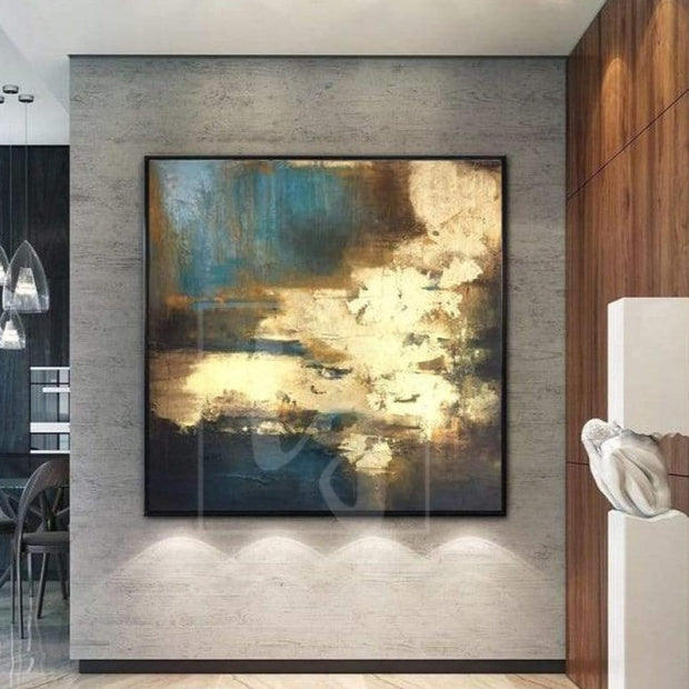 Large Abstract Oil Painting Oversized Abstract Painting Golden Leaf Painting Modern Artwork Abstract | SURGE OF ENERGY - Trend Gallery Art | Original Abstract Paintings