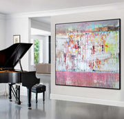 Large Abstract Oil Painting Pink Painting White Painting | PINK CITIES - Trend Gallery Art | Original Abstract Paintings