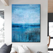Large Abstract Original Painting Blue Canvas Art White Painting Ocean Painting | WATER PARADISE - Trend Gallery Art | Original Abstract Paintings