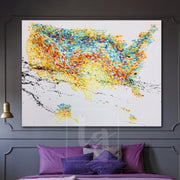 Large Abstract USA Map Painting Colorful Map Painting Wall Painting Map | USA MAP - Trend Gallery Art | Original Abstract Paintings