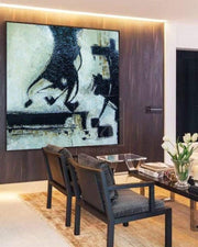 Large Abstract Wall Art Abstract Painting Black And White Black Painting White Painting | CORRIDA