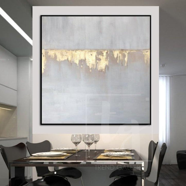 Large Acrylic Painting Gray Abstract Painting Golden Leaf Texture Art Abstract | GOLDEN WATERFALL - Trend Gallery Art | Original Abstract Paintings