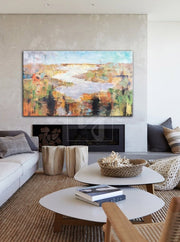 Large Canvas Art Abstract Landscape Painting Beige Painting Oil Painting | COLORS OF NATURE - Trend Gallery Art | Original Abstract Paintings