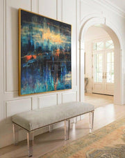 Large Canvas Art Living Room Abstract Painting Black Green Painting Blue Painting | DISTORTED REFLECTION - Trend Gallery Art | Original Abstract Paintings
