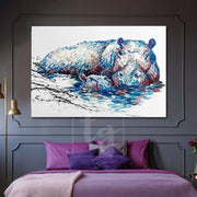 Large Hippopotamus Abstract Painting Original Hippopotamus Artwork | FIRST STEPS - Trend Gallery Art | Original Abstract Paintings