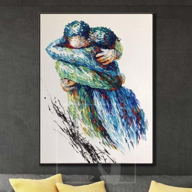 Large living room wall art Extra large wall art Romantic wall art Couple in love | SUMMER HUGS - Trend Gallery Art | Original Abstract Paintings