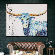 Large Longhorn Painting Buffalo Wall Painting Original Buffalo Painting On Canvas | TEXAS LONGHORN - Trend Gallery Art | Original Abstract Paintings
