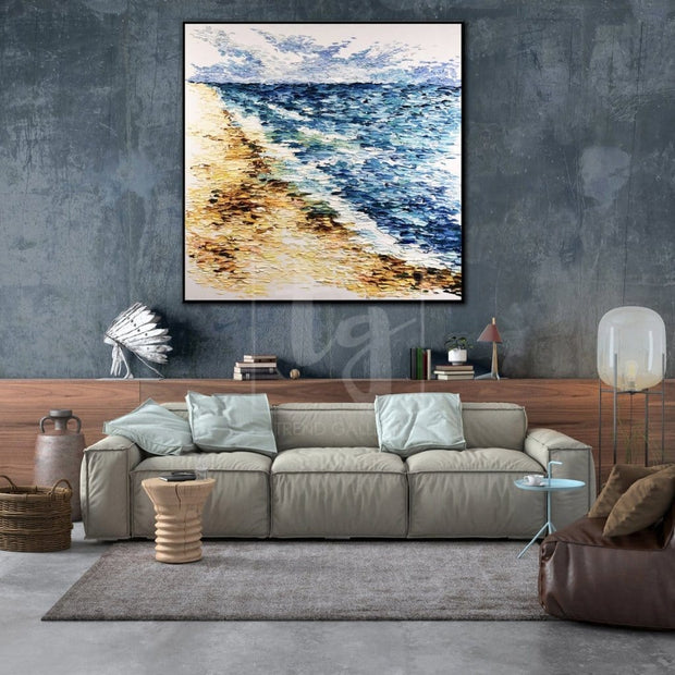 Large Ocean Abstract Painting Abstract Modern Art Beach Oil Painting | TWO FRONTS