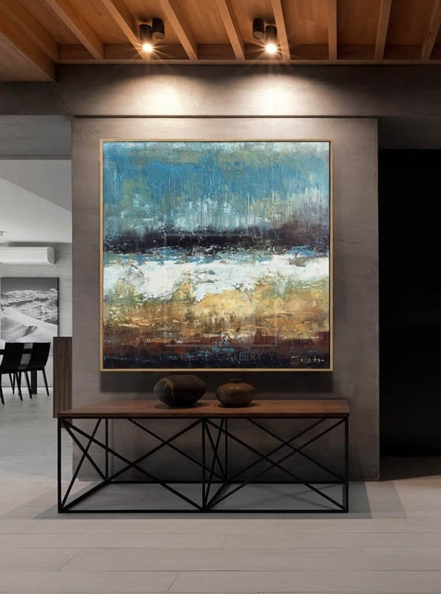 Large Oil Painting Original Canvas Brown Painting Blue Abstract Painting | DOWNPOUR - Trend Gallery Art | Original Abstract Paintings