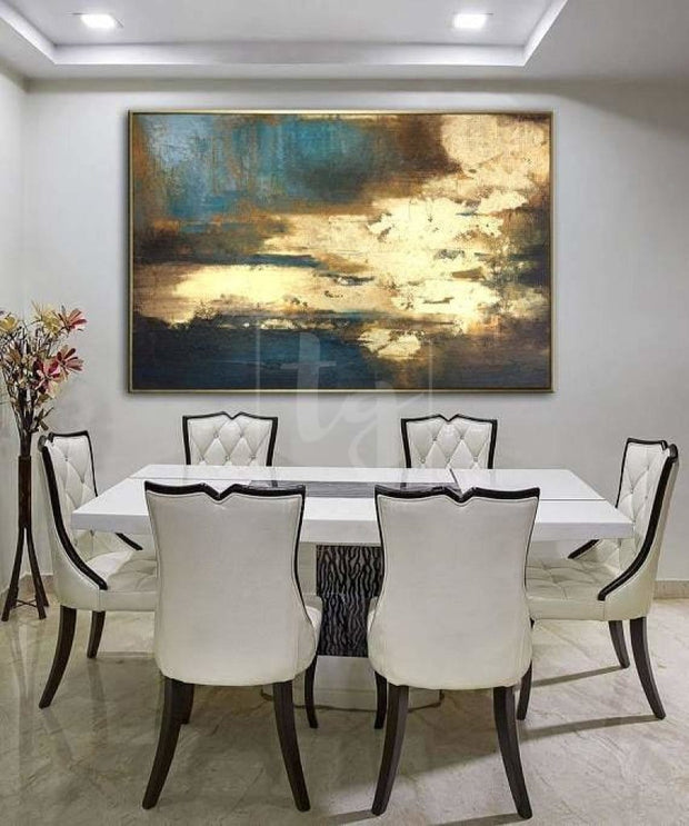 Large Oil Paintings On Canvas Golden Leaf Painting Contemporary Artwork Acrylic Paintings On Canvas | SURGE OF ENERGY - Trend Gallery Art | Original Abstract Paintings