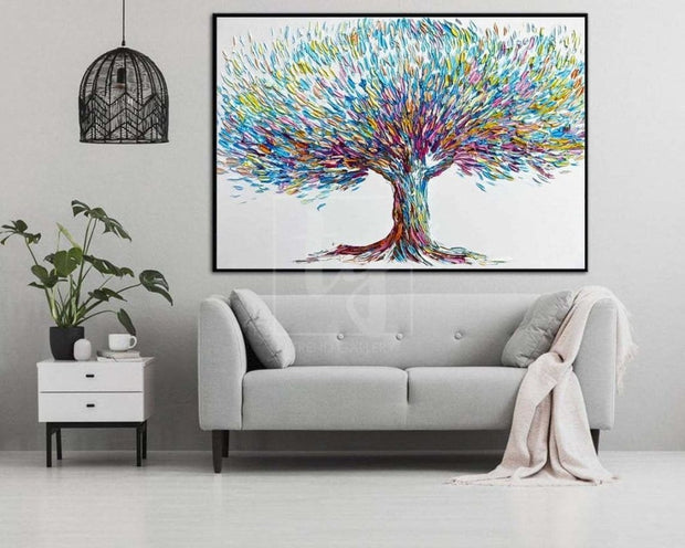 Large Tree Abstract Painting Abstract Oil Tree Artwork Contemporary Tree Modern Tree Paintings On Canvas Oil Painting | TREE OF HAPPINESS - Trend Gallery Art | Original Abstract Paintings